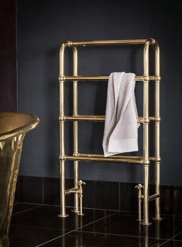 banner_arched_ladder_heated_towel_rail_brass_against_black_wall